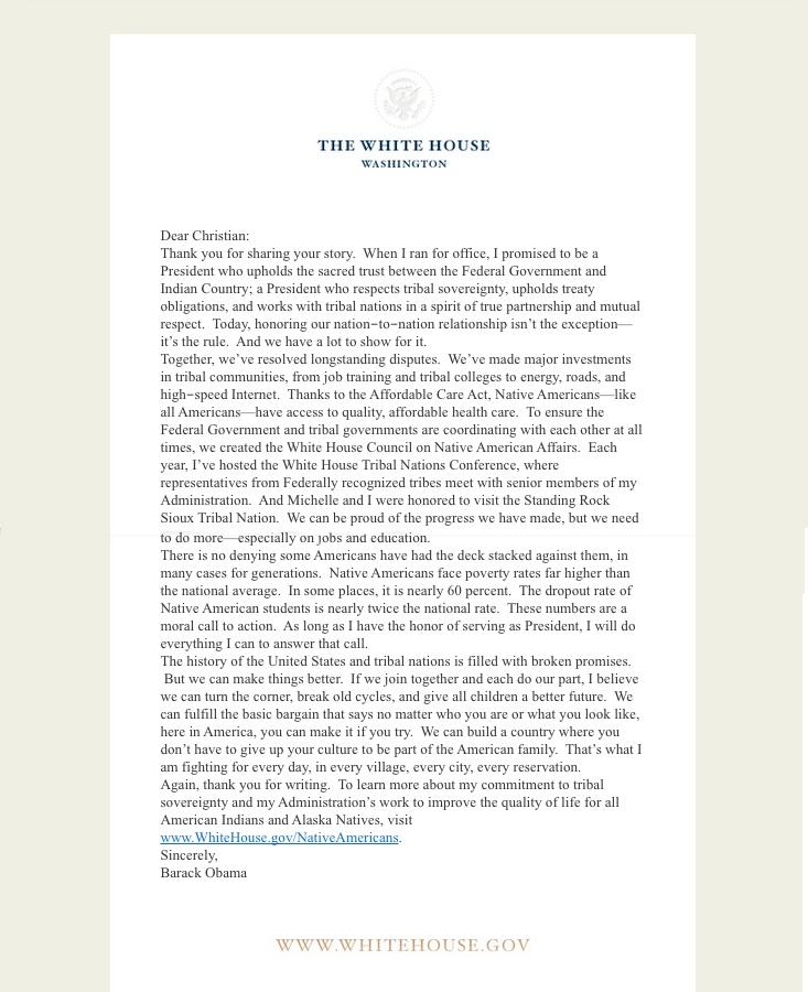 white house barak oabama letter