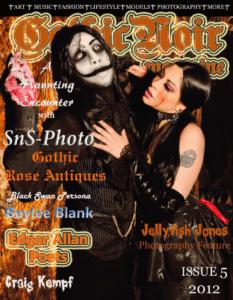 gothic Noir MAgazine Cover with Edgar Allan Poets the noir rock band