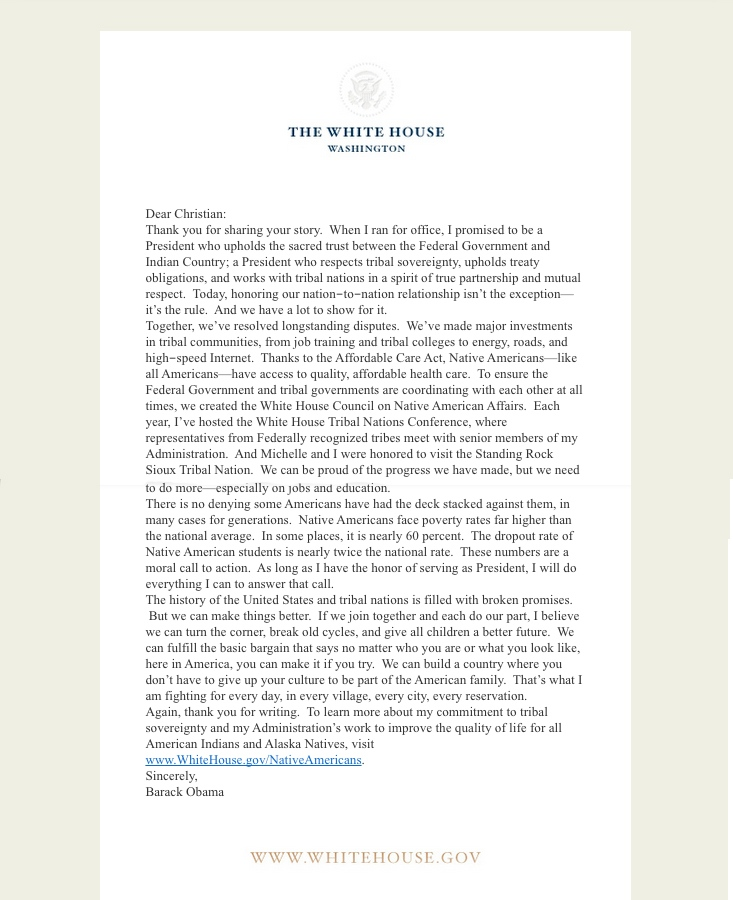white house barak oabama letter